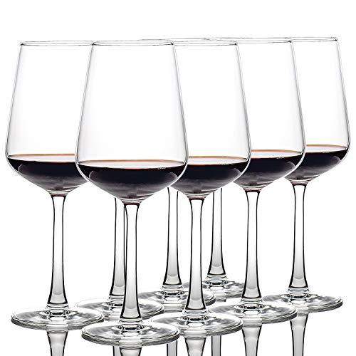 CREST - Juego de 8 copas de vino tinto de 360 ml, cristal de cristal, tallo largo, perfecto para el hogar, restaurantes y fiestas