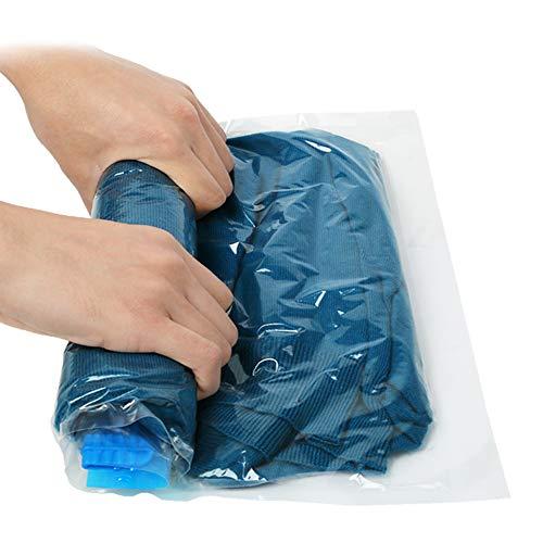 Sacs de Rangement Sous Vide, [8-Pack] Sacs de Stockage pour Voyage, Rouleaux à la Main et Économiseur d'espace pour Vêtements Couvertures Serviettes, Pas Besoin de Pompe avec 3 Tailles (Transparent)