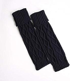 HYY-YY, HYY-YY Rodilleras de invierno para niñas, calentadores de pierna, calcetines de punto para botas de mujer, longitud de botas de otoño, rodilleras para niños (color: azul volteado)