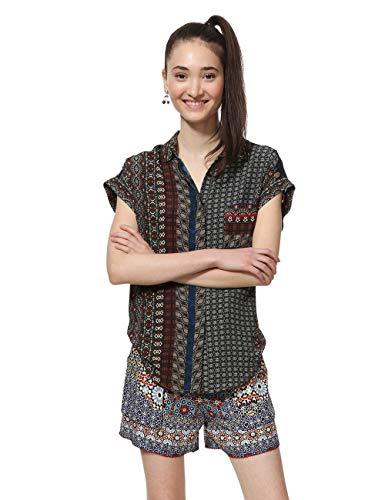 Desigual Damen Shirt Short Sleeve Azhar Woman Brown Hemd, Braun (Chocolate 6009), Large