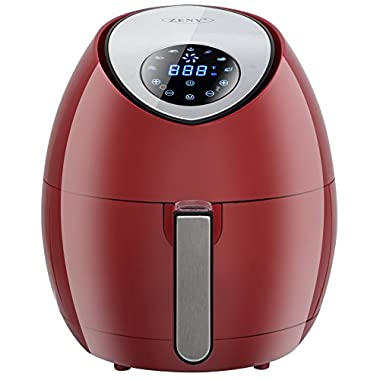 SUPER DEAL 1500W Electric Air Fryer with Rapid Air Technology Touch Screen 7 Cooking Presets Menu, Timer and Temperature Control, 3.7 QT W/Recipe Cookbook (Red)