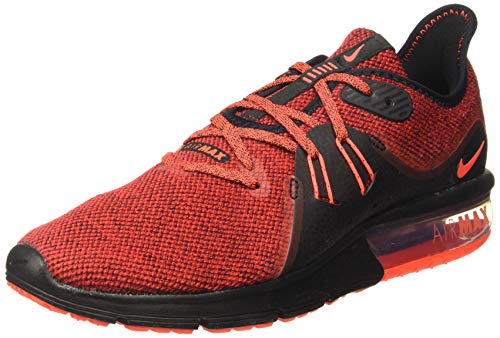 NIKE Men's Air Max Sequent 3 Running Shoes (8.5 D(M) US, Black/Total Crimson/University Red)