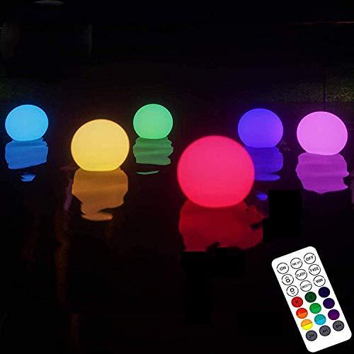 Luces Flotantes Piscina,6 pcs Luz de Piscina Flotante Impermeable IP68 para el Hogar 16 Luces LED de Bola que Cambian de Color para Piscina, Estanque, Jardín, Fiesta