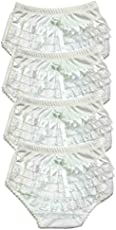 B-One Kids Baby Girls 100% Cotton Diaper Cover Bloomers 4 Pack (Size 5 (12-18 Months), White)