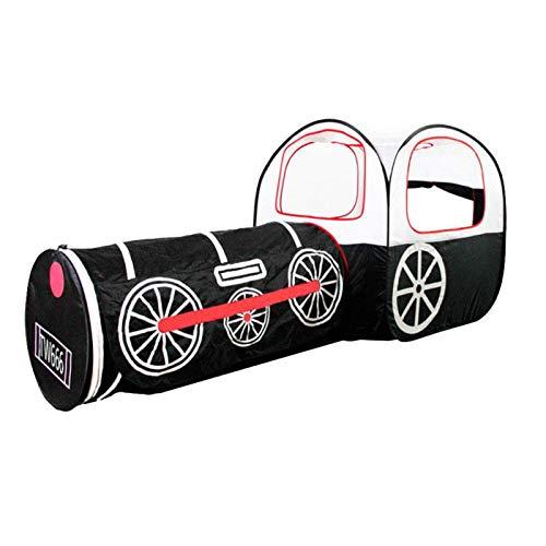 El túnel del juego de los niños, los juguetes interactivos los niños juegan el paño del poliéster de la tienda del tren para interior al aire libre(black)