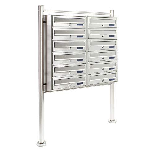 Sistema de 12 buzones de pie Acero 2x6 Compartimentos con cerradura Cartas Correo Correspondencia