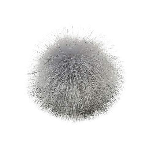 DIY Faux Fuchspelz Fluffy Pom Pom Ball zum Stricken Hüte, Taschen, Schlüsselanhänger, Schuhe, Kunstfell Bommel für Mützen und Beanies, Fake Fur, Winter Fellbommel (D, 10cm (4