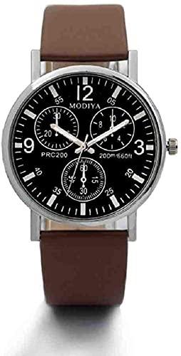 JZDH Mano Reloj Relojes de Relojes para Hombre Relojes Relojes Reloj de Pulsera de Negocios Deportivos Militares de Cuero Casual Relojes Decorativos Casuales (Color : Brown)