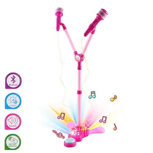 deAO Kids Adjustable Stand-up-Karaoke- und Musikmaschinen-Spielset mit Zwei Mikrofonen und LED-Disco-Lichtern (Pink)