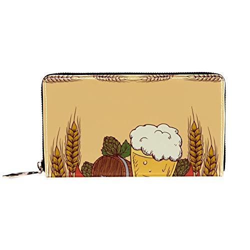 Damen Geldbörse mit Reißverschluss und Handy, Clutch, Reisetasche, Kartenhalter, Organizer, Handgelenke, Retro-Bier und Gerste
