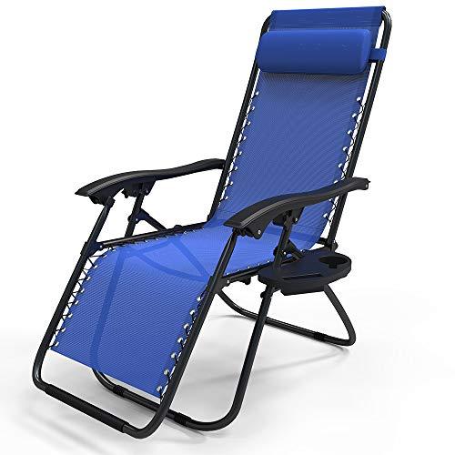 VOUNOT Liegestuhl Klappbar, Relaxstuhl Garten mit Getränkehalter und Kopfpolster, Verstellbar Rückenlehne, Blau
