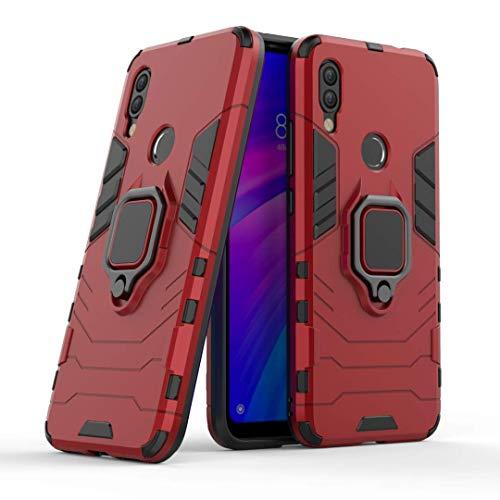 LuluMain Compatibile con Redmi7, Y3 Cover, Custodia Armor Anello Cavalletto (Funziona con Il Supporto Magnetico per Auto) Case Paraurti per Xiaomi Redmi 7, Redmi Y3 (Rosso)