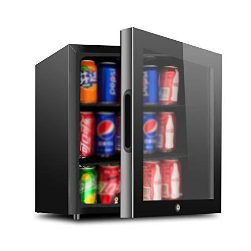 YX Mini Fridge Mini refrigerador - Refrigerador de Bebidas Puerta de Vidrio - Puerta de Vidrio Máquina dispensadora de Bebidas pequeña Vidrio Negro extraíble para el hogar, la Oficina o el Bar