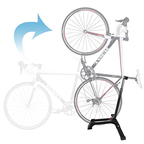 Qualward Bicycle Stand Vertical Bike Rack Floor Adjustable Upright Design, Space Saving for Living Room, Bedroom or Garage