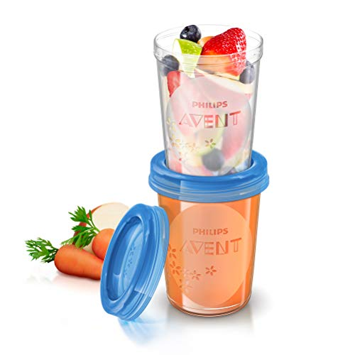 Philips Avent SCF639/05 - Set de recipientes de comida para bebé (5 recipientes 240 ml + 5 tapas)