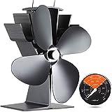 [ 2 Ans ] Ventilateur de Cheminée 50°C Démarré Eco Ventilateur de Foyer Silencieux Petit Ventilateur de Poêle à Bois /...