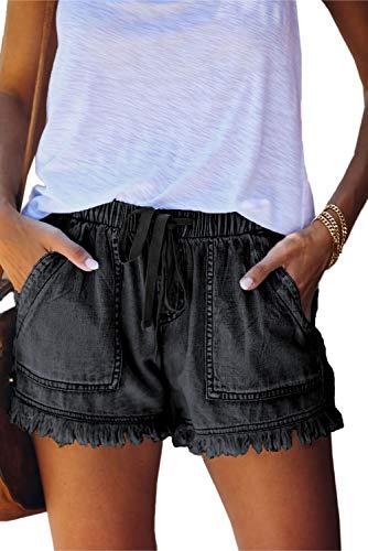 KINGFEN Women's Denim Shorts Cut Off Jean Shorts for Teen Girls Casual Comfy Mid Length Elastic Waist Drawstring Frayed Raw Hem Stretch Shorts Women Summer Clothes 2021 Black Large