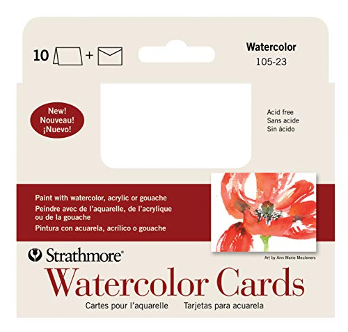 Strathmore 105-23-1 Watercolor Cards, Cold Press, 3.5' x 4.875', 10 Envelopes, Cards & Envelopes
