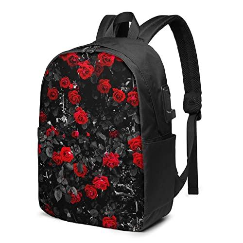 Zaino da viaggio con rosa rossa e nera, con porta di ricarica USB per uomini e donne da 17', Nero , Taglia unica,