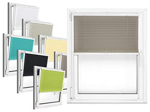 npluseins Plissee - vormontiert und mit Klemmfixierung am Fensterahmen - kinderleichte 3-Step Montage, ca. 70 x 130 cm, grau