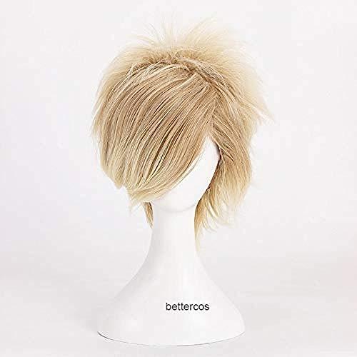 Pelucas de Cosplay de Axis Powers Hetalia APH Danmark Dinamarca, peluca de pelo sinttico resistente al calor rubio de lino corto + gorro de peluca