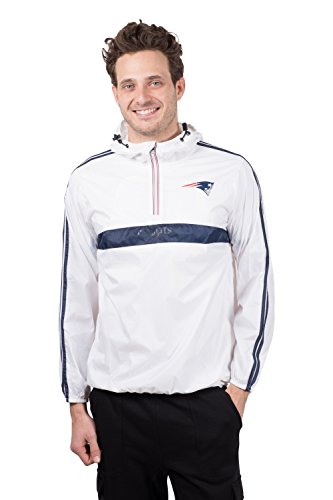 Ultra Game NFL New England Patriots Mens Quarter Zip Pullover Hoodie Packable Windbreaker Jacket, White, X-Large