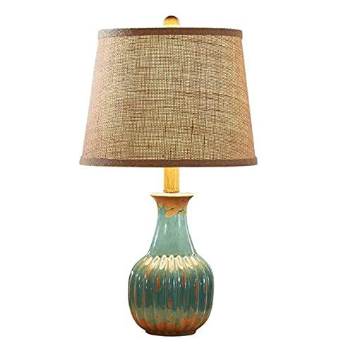 Lámparas de escritorio lámpara de mesa para sala de estar lámpara de cama de cerámica rústica simple lámpara de mesa cálida romántica para dormitorio sala de estar café exquisito lámparas de mesa deco