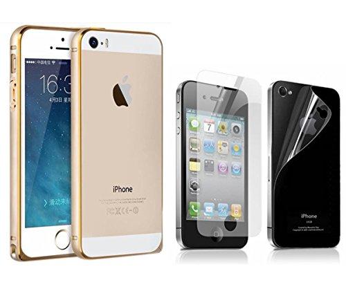 SDO Luxury Screwless Dual Tone Arc Edge Bumper Case for Apple iPhone 4 4s (Golden) with Screen Guard