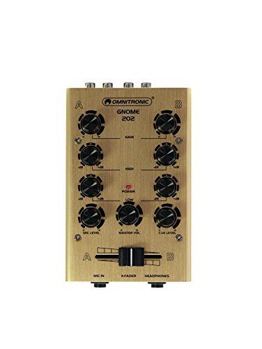 OMNITRONIC GNOME-202 Mini-Mixer gold | 2-Kanal-DJ-Mixer im Miniaturformat | Extrem leichter und kompakter DJ-Mixer | Metallgehäuse