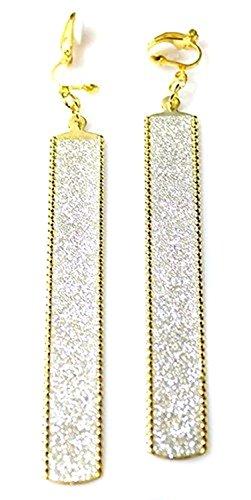 Caprilite - Orecchini con clip a Ð, lunghi, stile hip hop, in oro e argento brillante