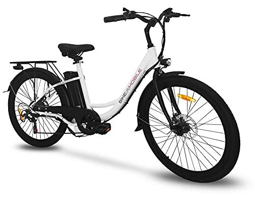 Bici Elettrica Ebike 250W Bicicletta Elettrica per Adulti 26'Bici Elettrica Cruiser/City bike Elettrica bianca con Batteria 48v agli Ioni di Litio Rimovibile 10Ah, Shimano 6 Velocità Bianco