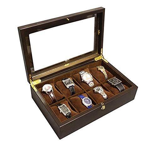 GUOCAO Caja de reloj de madera con 8 ranuras para joyas de exhibición de la joyería de la caja de almacenamiento de vidrio de la colección de joyas de acabado de exhibición