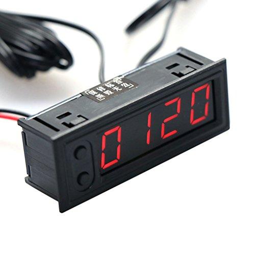 Cuigu 3-in-1 Multifunktions-Uhr, hohe Präzision, Innen- und Außentemperatur des Autos, Akku, Spannungsmesser, Voltmeter, Messgerät, 12 V, rot, 22 x 58 mm