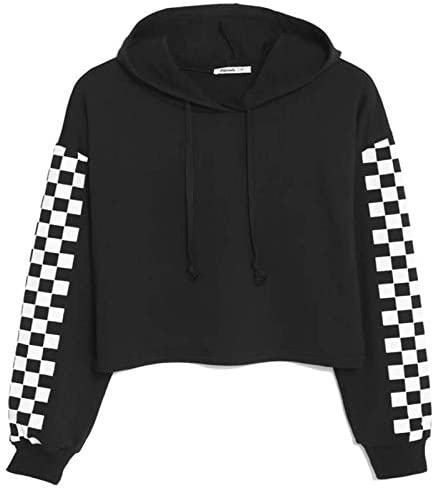 Zaprada Women s Cute Black Cropped Hoodie Sweatshirt Pullover Long Sleeve Print Casual Crop product image