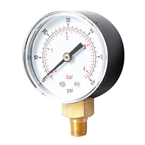 Manometer, 1/8 BSPT Anschluss von unten, 0-60 PSI, 0-4 Bar, passend für Druckminderer/Wasserfilter/Sandfilteranlage