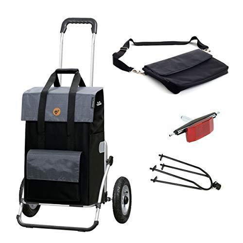 Andersen Einkaufstrolly Royal XXL luftbereift mit Fahrrad-Anhängerkupplung und 43 Liter Tasche Vektor schwarz/grau mit Kühlfach, extra Laptoptasche