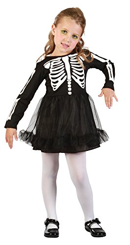 Bristol Novelty CC040 Vestido para niña esqueleto, blanco, XS