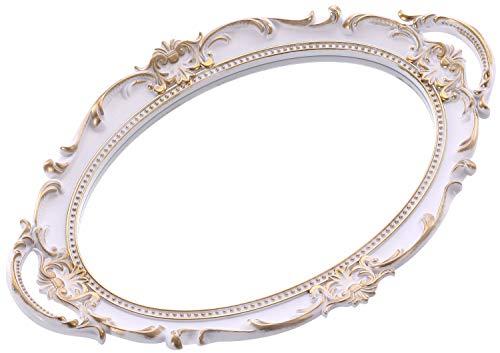 Sooyee - Bandeja decorativa con espejo de color dorado, organizador y expositor de perfumes, bandeja de maquillaje para tocador, baño, bandeja de servir con asa, 22,8 x 35,5 cm,...
