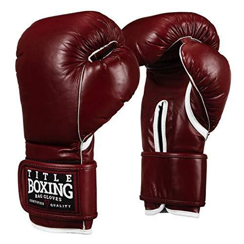 Title Old School Leather Bag Gloves, Maroon, 16 oz