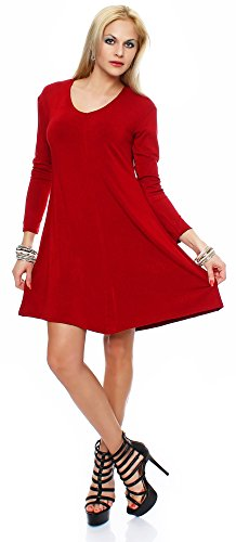 Mississhop, hergestellt in EU - Robe - Trapèze - Uni - Manches Longues - Femme - Rouge - 38
