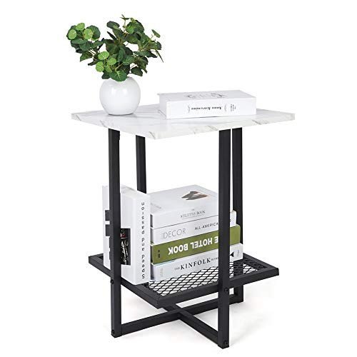 Yosoo Modern Marble Square Side End Table,White Wooden Accent Coffee Table Nightstand Bedside Metal Frame with Bottom Metal Mesh for Home Living Room Bedroom Office