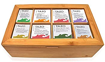Tazo Tea Bags Sampler Assortment Gift Box - 80 Count - 14 Different Flavors Perfect Variety Pack in Bamboo Gift Box - Gift for Family Friends Coworkers ? Passion Fruit Awake English Breakfast ...
