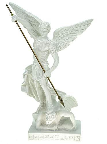 Alabaster Deko Figur Erzengel Michael 26 cm Skulptur weiß Engel Archangel