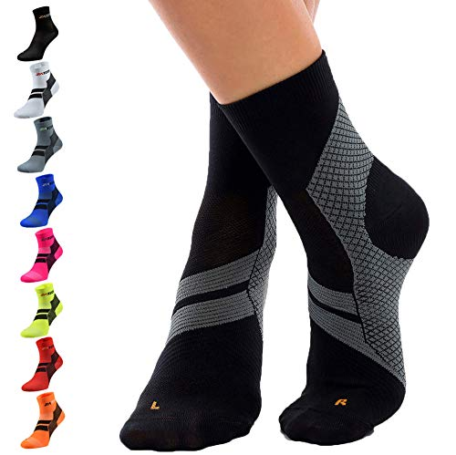 ZaTech Plantar Fasciitis Sock, Compression Socks (Black/Gray, X-Large)