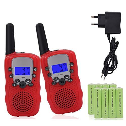 Miavogo 2 x Walkie Talkie Set für Kinder, Funkgerät mit Akkus PMR 3 km Reichweite Funkhandy, Rot