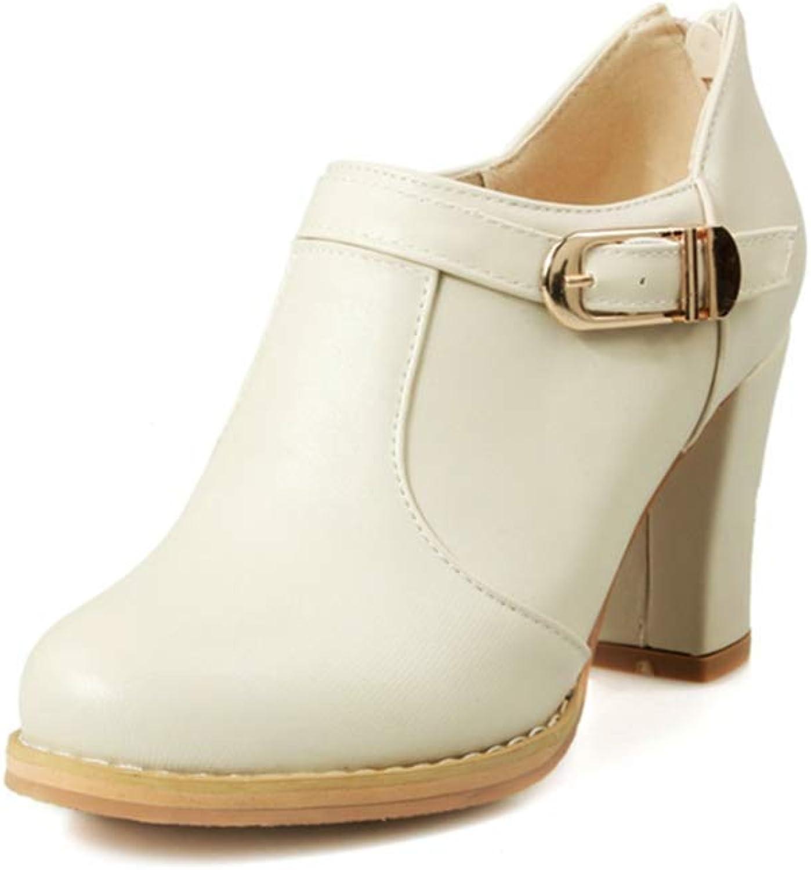 Elsa Wilcox Women Buckle Round Toe Slip On High Heel Vintage Dress Oxfords shoes Chunky Platform Oxford Pump