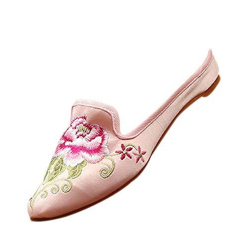 DAZISEN Bestickte Schuhe - Frauen Chinesischer Traditionen Beiläufiger Hibiskus Hausschuhe,Rosa,CN34(Fußlänge:220mm)
