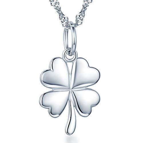 # 925 Plata Esterlina Cadena Colgante Lucky Felicidad trébol de cuatro hojas de caja de regalo