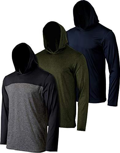 3 Pack: Mens Dry Fit Moisture Wicking Long Sleeve Active Athletic Hoodie Pullover Sweatshirt-Set 6, Medium