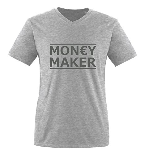 Comedy Shirts - Money Maker - Herren V-Neck T-Shirt - Graumeliert/Grau Gr. XXL